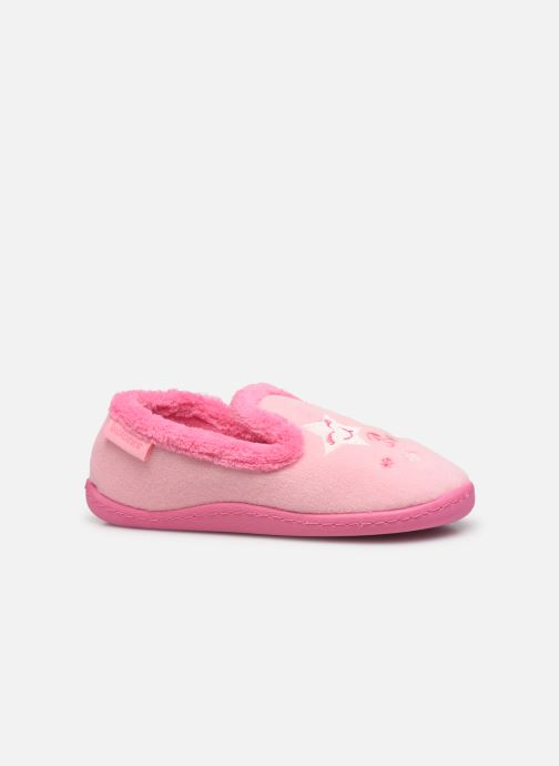 Hausschuhe Isotoner Charentaise polyvelours rosa ansicht von hinten