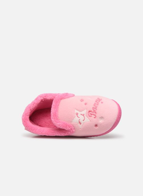Hausschuhe Isotoner Charentaise polyvelours rosa ansicht von links