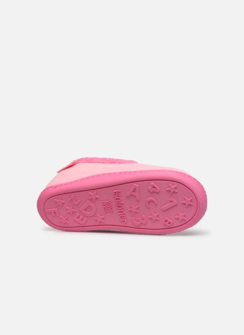 Chaussons Isotoner Charentaise polyvelours Rose vue haut