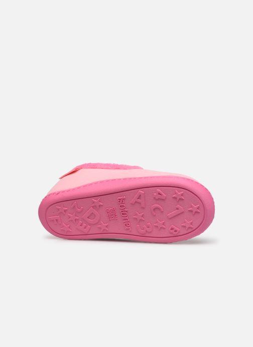 Hausschuhe Isotoner Charentaise polyvelours rosa ansicht von oben