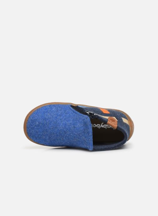 Pantoffels Babybotte Musicien Blauw links