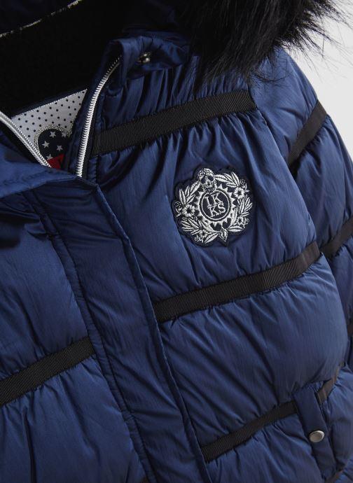 Vêtements IKKS JUNIOR  Doudoune Longue XP41012 Bleu vue portées chaussures