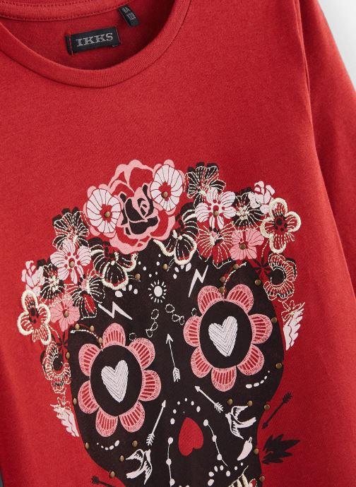 Vêtements IKKS JUNIOR  Tee Shirt ML XP10142 Rouge vue portées chaussures
