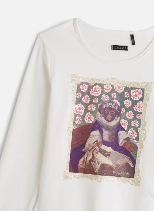 Vêtements IKKS JUNIOR  Tee Shirt ML XP10172 Blanc vue portées chaussures