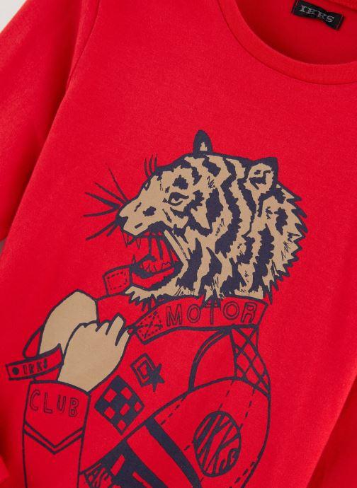 Vêtements IKKS JUNIOR  Tee Shirt ML XP10063 Rouge vue portées chaussures