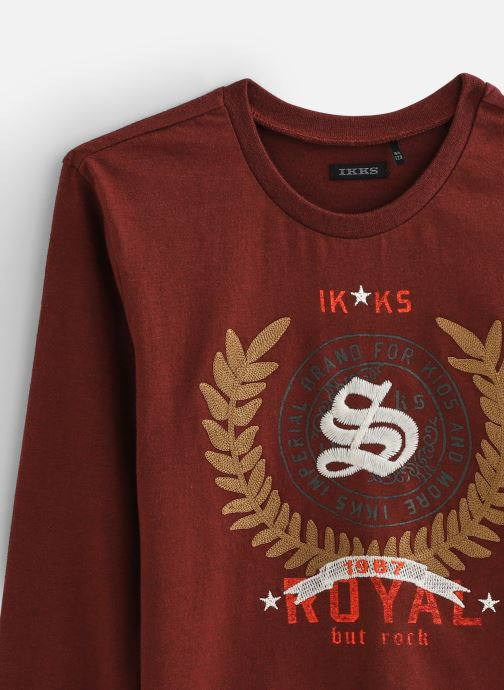 Vêtements IKKS JUNIOR  Tee Shirt ML XP10223 Rouge vue portées chaussures