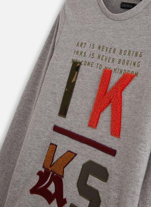 Vêtements IKKS JUNIOR  Tee Shirt ML XP10233 Gris vue portées chaussures