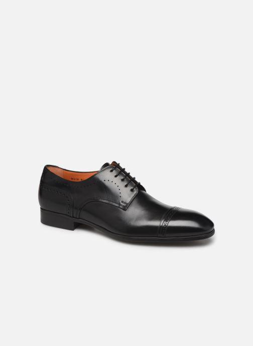 Lace-up shoes Santoni Simon 16318 Noir Black detailed view/ Pair view