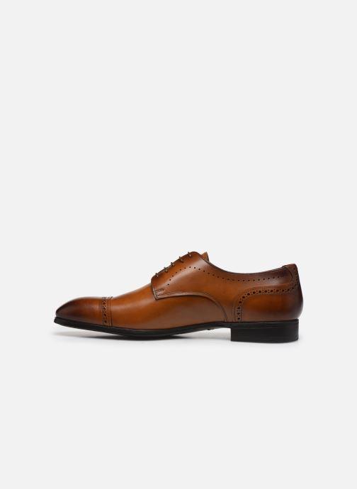 Lace-up shoes Santoni Simon 16318 Marron Gold Brown front view