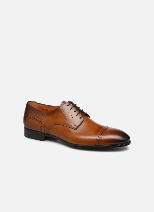Lace-up shoes Santoni Simon 16318 Marron Gold Brown detailed view/ Pair view