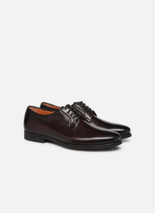 Zapatos con cordones Santoni Mars 15753 Vino vista 3/4