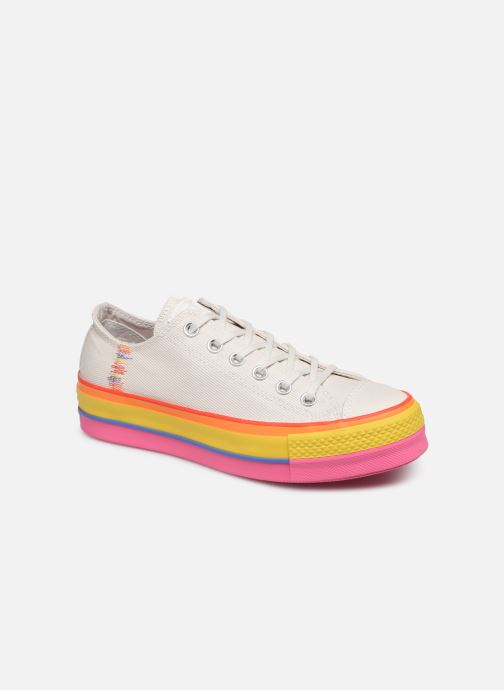 Baskets Converse Chuck Taylor All Star Lift Rainbow Ox Blanc vue détail/paire