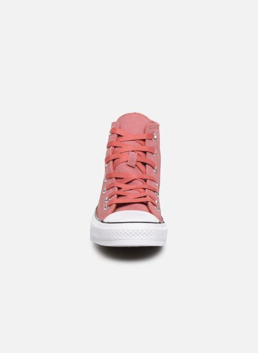 Baskets Converse Chuck Taylor All Star Retrograde Hi Rose vue portées chaussures