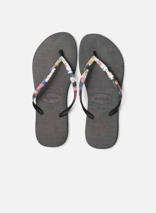 Tongs Havaianas Slim Strapped Noir vue portées chaussures