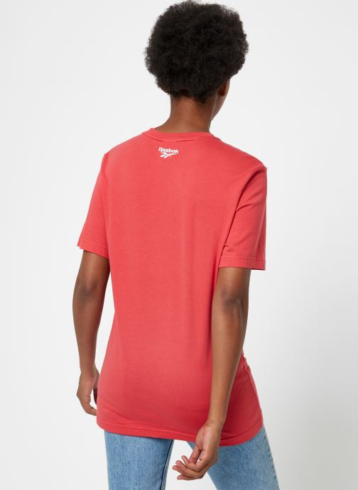 Vêtements Reebok Cl Itl Pizza Tee Rouge vue portées chaussures