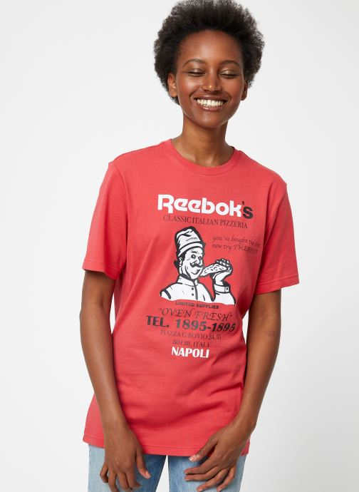 Vêtements Reebok Cl Itl Pizza Tee Rouge vue détail/paire