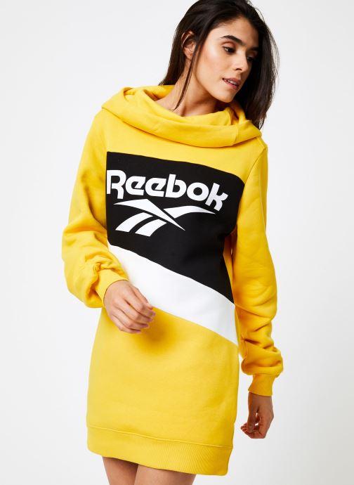 Vêtements Reebok Cl V P Hoodied Dress Jaune vue droite