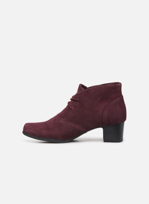 Ankle boots Clarks Unstructured Un Damson Tie Burgundy front view