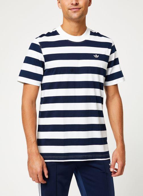 Vêtements adidas originals Stripe Tee Blanc vue détail/paire