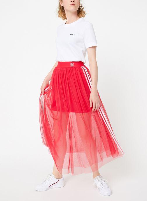 Vêtements adidas originals Tee-Shirt Blanc vue bas / vue portée sac