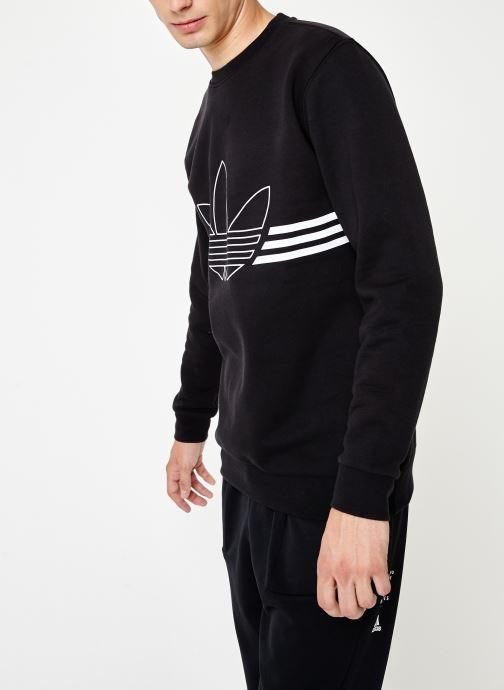 Vêtements adidas originals Outline Crw Flc Noir vue droite
