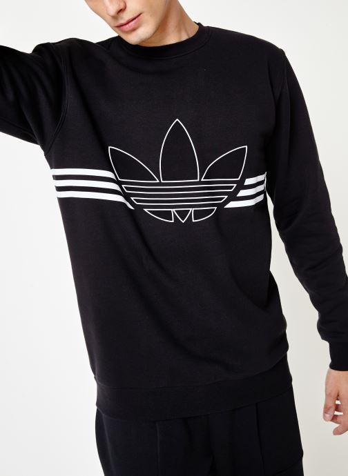 Vêtements adidas originals Outline Crw Flc Noir vue détail/paire