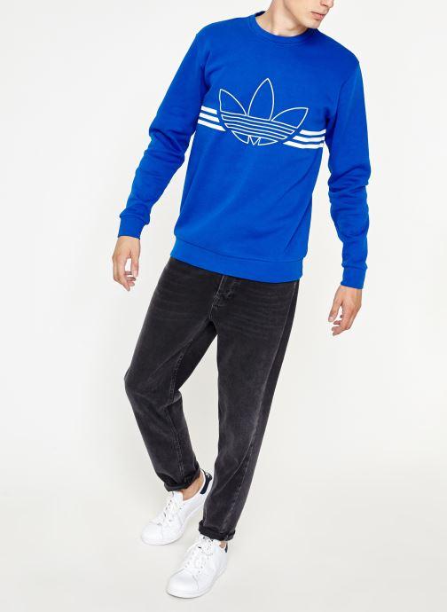 Kleding adidas originals Outline Crw Flc Blauw onder