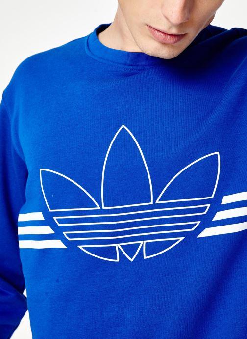 Vêtements adidas originals Outline Crw Flc Bleu vue face