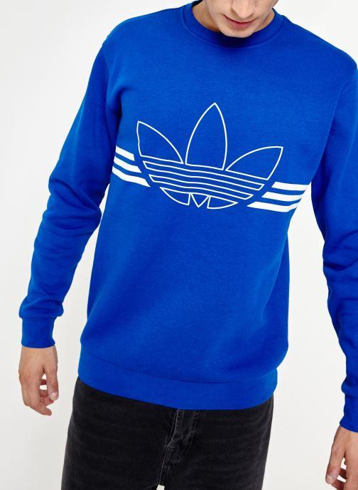 Vêtements adidas originals Outline Crw Flc Bleu vue détail/paire