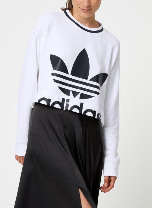 Vêtements adidas originals Cropped Sweater Blanc vue droite