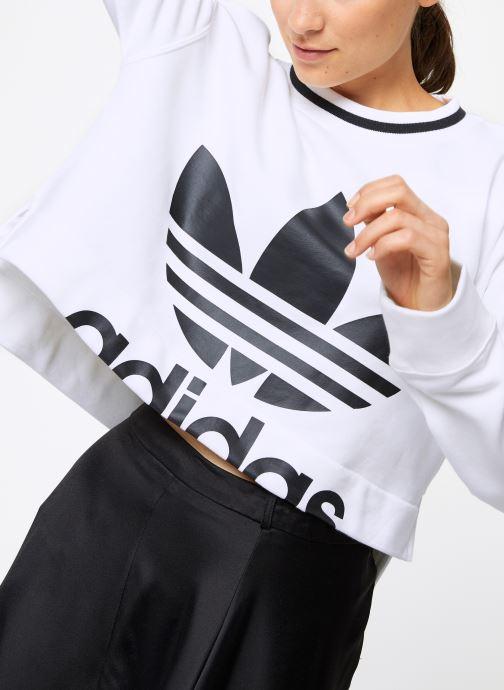 Vêtements adidas originals Cropped Sweater Blanc vue détail/paire