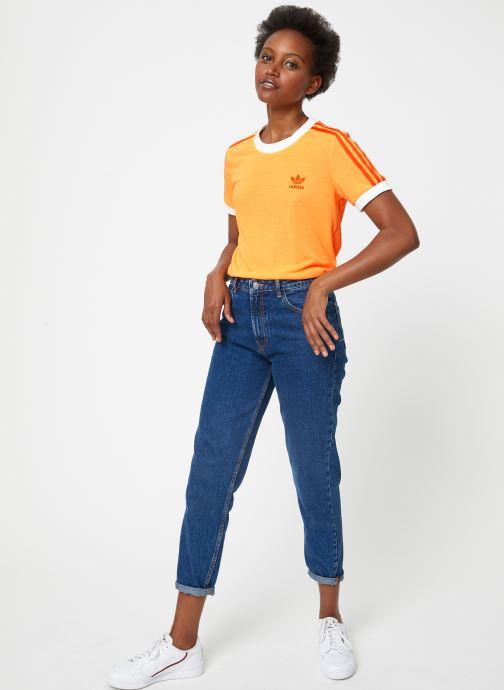 Vêtements adidas originals 3 Str Tee Violet vue bas / vue portée sac