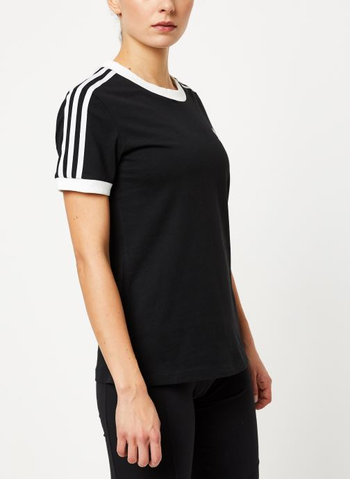 Vêtements adidas originals 3 Str Tee Noir vue droite