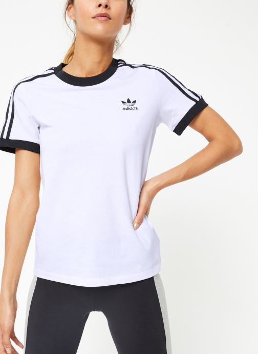 Vêtements adidas originals 3 Str Tee Blanc vue détail/paire