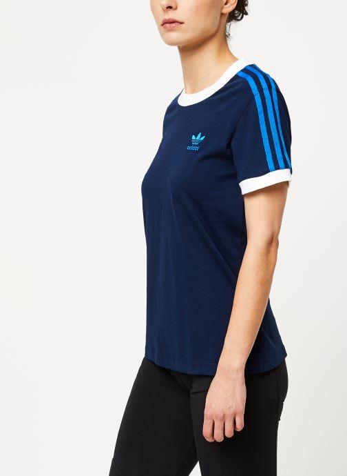 Vêtements adidas originals 3 Str Tee Bleu vue droite