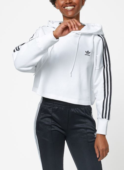 Vêtements adidas originals Cropped Hood Blanc vue détail/paire
