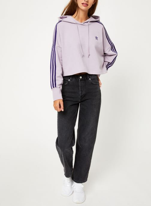 Vêtements adidas originals Cropped Hood Violet vue bas / vue portée sac