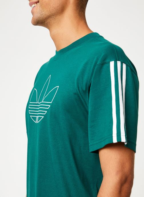 Vêtements adidas originals Outline Tre Tee Vert vue face