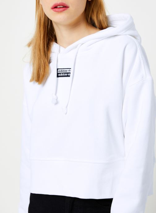 Vêtements adidas originals Crop Hood Blanc vue face