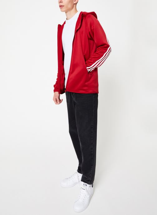 Vêtements adidas performance Daily 3S Hoodie Rouge vue bas / vue portée sac