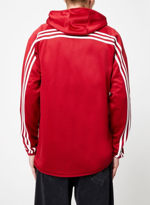 Vêtements adidas performance Daily 3S Hoodie Rouge vue portées chaussures