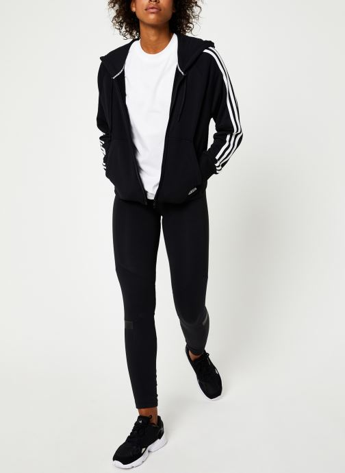 Vêtements adidas performance W Mh 3S Fz Hd Noir vue bas / vue portée sac