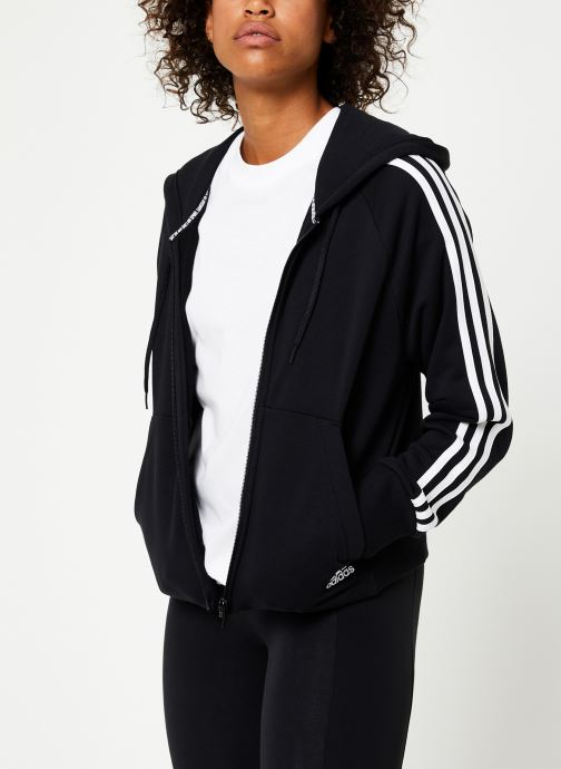 Vêtements adidas performance W Mh 3S Fz Hd Noir vue droite