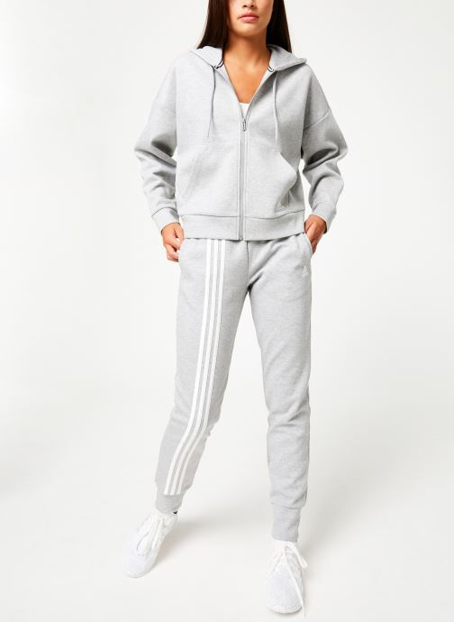Vêtements adidas performance W Mh 3S Dk Hd Gris vue bas / vue portée sac