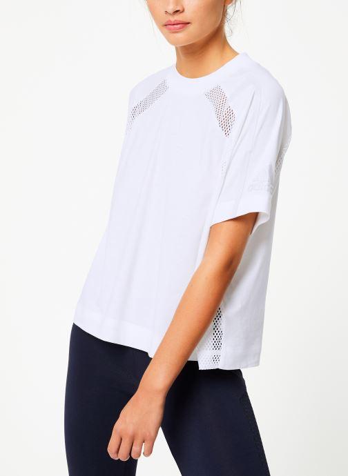 Vêtements adidas performance W Zne Tee Blanc vue droite