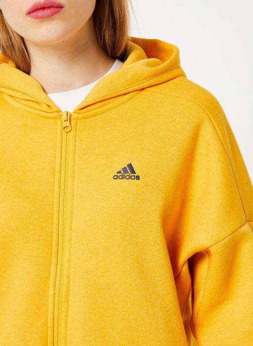 Vêtements adidas performance W S2S Swt Fzhd Jaune vue face