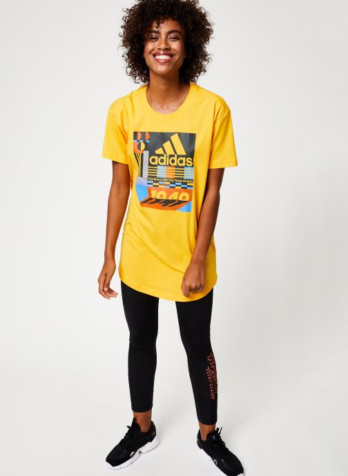 Tøj adidas performance W Mh Graphic T Gul se forneden