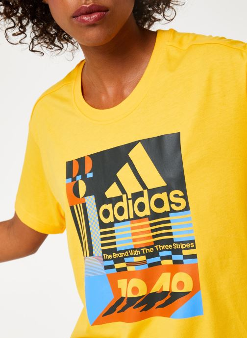 Tøj adidas performance W Mh Graphic T Gul se forfra