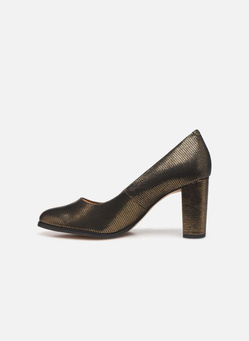 Zapatos de tacón Clarks Kaylin Cara Oro y bronce vista de frente