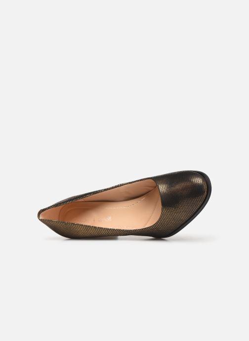 Zapatos de tacón Clarks Kaylin Cara Oro y bronce vista lateral izquierda